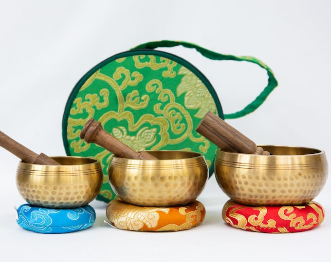 """Featured listing image: SALE END TOnight!Set of 3 singing bowls 3""""-3.5""""- 4""""Chakra Healing Handcrafted for sound healing, meditation,yoga and charka balancing et"""