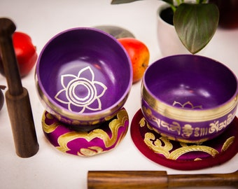 "SALE END TOnight!ALL PurPle with chakra symbols 3"" Handhammering  Singingbowls for sound healing, meditation, yoga,charka balancing"