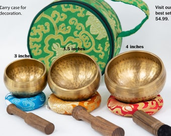 """SALE END TOnight!PURIFY with 3.5"""" Hand Beaten Hammering Singingbowls for sound healing, meditation, yoga and charka balancing et"""