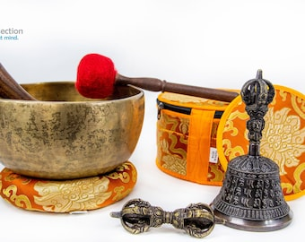 """SALE END TOnight!300 years old Handmade Antique 7.5"""" Singing bowl With Bell and Dorje  for sound healing, meditation, yoga, chakra"""
