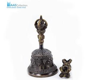 "SALE END TOnight!Tibetan 6"" Pure Handmade 7 metals Bell and Dorje (Vajra) for Meditation, Yoga, Chakra blancing,"