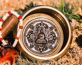 "SALE END TOnight!Tibetan 4,5"" Mandala Buddha Singing bowl with 3 style for Meditation, Yoga, Chakra blancing and healing"