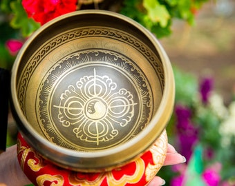 "SALE END TOnight!Tibetan 5.5"" Carving Mantra Singing bowl for sound healing, meditation, yoga and charka balancing et Gift mom"