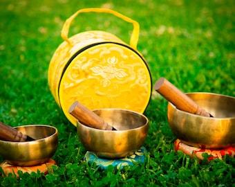 "SALE END TOnight!3 Bowl MasterSet 5-6-7""Chakra Healing Handcrafted Singing bowls for sound healing, meditation, yoga charka balancing"