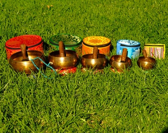 SALE END TOnight!Set of 5 singing bowls Chakra Healing Handcrafted for sound healing, meditation,yoga and charka balancing et