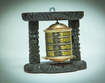 SALE END TOnight!Big Turquoise Table prayer wheel just for decoration, antique look and bring luck, protect for your house