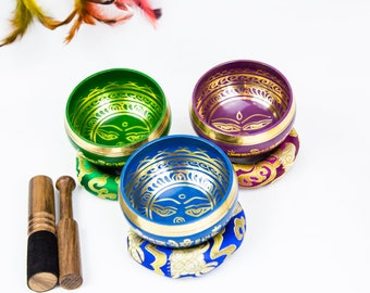 """SALE END TOnight!3 Singing bowls colorful set 3,5""""  antique looks  Handcrafted for sound healing, meditation, yoga and charka et"""