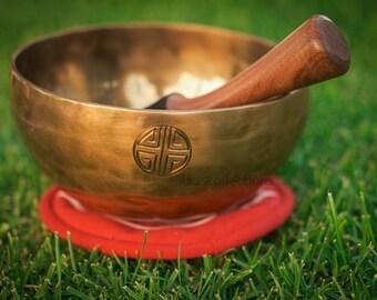 "Tibetan 8""inch Power of The Full moon Handmade Singing bowl for sound healing, meditation, yoga and chakra balancing"