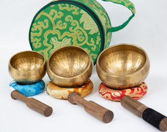 """SALE END TOnight!3 singing bowls 3""""-3.5""""- 4""""Chakra Healing Handcrafted for sound healing, meditation,yoga and charka balancing et"""