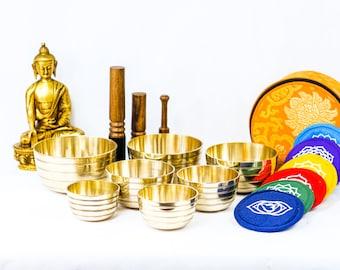 SALE END TOnight!7chakra set Planetary Tibetan Handmade 7 pieces  singing bowl for sound healing, meditation, yoga and chakra balancing.