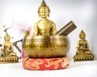 "High Quality 3.5"" inch Bowl +Bracelet Hand Beaten Hammering Singing bowls for sound healing, meditation, yoga charka balancing from Nepal"