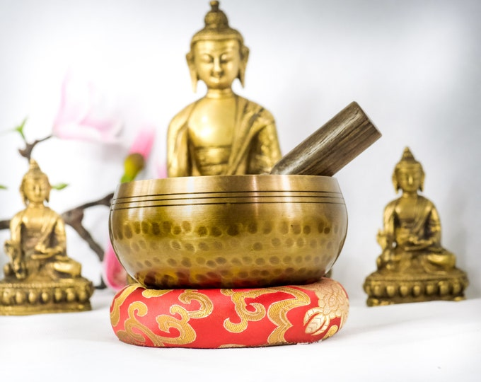 """Featured listing image: High Quality 3.5"""" inch Bowl +Bracelet Hand Beaten Hammering Singing bowls for sound healing, meditation, yoga charka balancing from Nepal"""