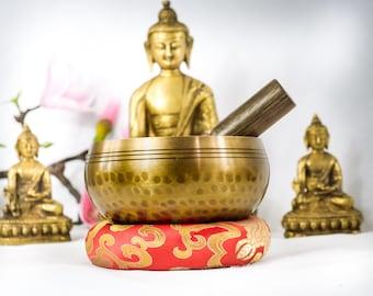 Purify 4 inch Bowl +Bracelet Hand Beaten Hammering Singing bowls for sound healing, meditation, yoga charka balancing Nepal et