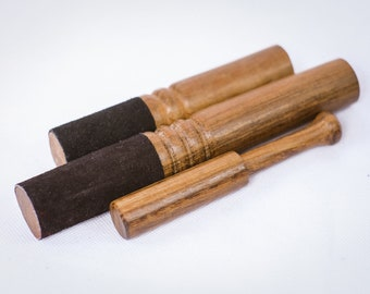 SALE END TOnight!Set of 3 Wooden Stick Black  leather for  Singing bowl for sound healing, meditation, yoga and chakra balancing