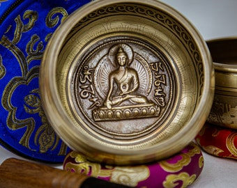 SALE END TOnight!Origin Buddha Singing bowl with 2 styles for Meditation, Yoga, Chakra blancing and healing.