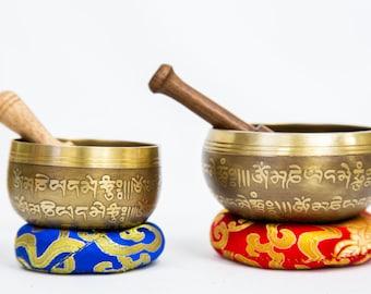 "SALE END TOnight!Tibetan Mantra Craving antique looks 3,5"" and 3"" Singingbowls for sound healing, meditation, yoga ,charka balancing"
