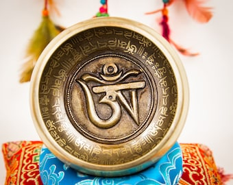 "SALE END TOnight!Tibetan 4,5"" OM Singing bowl Meditation, Yoga, Chakra blancing and healing"