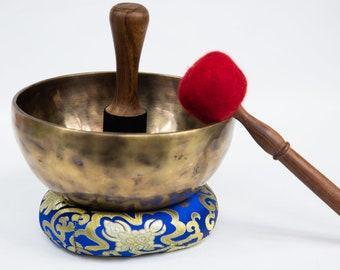 "SALE END TOnight!Tibetan 9"" Handmade Singingbowl for Third eye chakra,sound healing, meditation, yoga and chakra balancing"