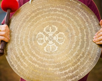 SALE END TOnight!Large GONG 18 Inches for sound healing, meditation, Hand made - Hand carving Made in Nepal, Stock in American