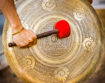 SALE END TOnight!Large GONG 19 Inches for sound healing, meditation, Hand made - Hand carving Made in Nepal, Stock in American