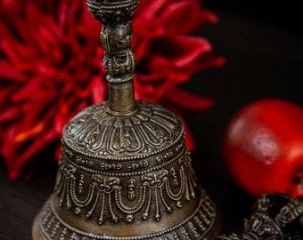SALE END TOnight!Tibetan Pure Handmade 7 metals Bell and Dorje (Vajra) for Meditation, Yoga, Chakra blancing,