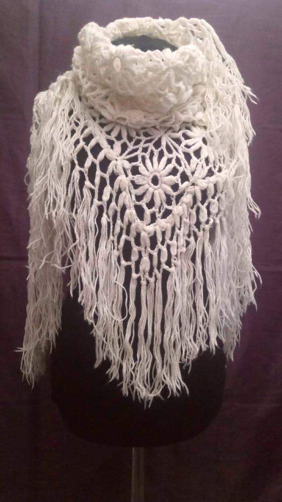 Vintage Wool shawl,Retro Wool shawl,Handmade shawl