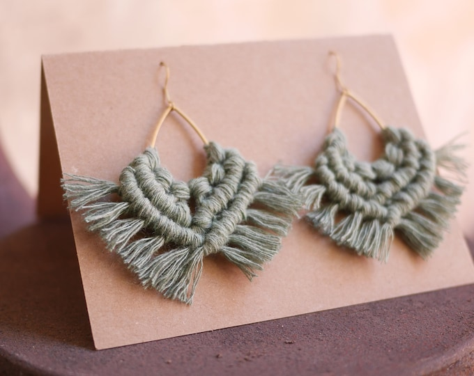 Featured listing image: Macrame earrings, boho, earrings, hanging earring, handmade, cotton, nickel-free brass hanger