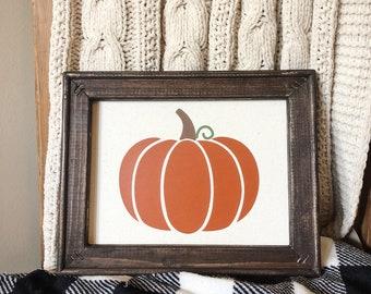 Pumpkin Farmhouse Rustic Fall Autumn Canvas Sign Decor