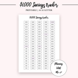 PRINTABLE 1000 Dollars Savings Tracker Savings Log Instant Download 1k Emergency Fund Chart Finances Money PDF A4 A5 LETTER