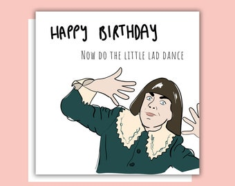 Berries and Cream Do The Little Lad Dance Meme Birthday Card