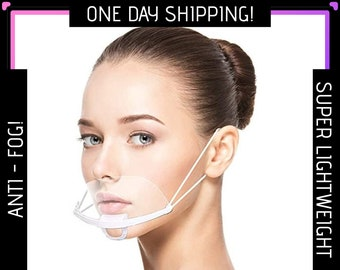 Anti Fog Transparent Face Mask - Clear Face Mask - Mouth Shield - Face Shield - Mask for hard of hearing or def - Adult or kids unisex