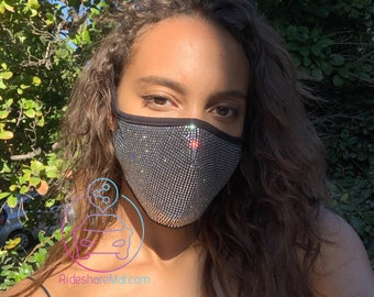 Rhinestone Face Mask, Cotton Face Mask, Washable, Reusable Fast Shipping In Stock    Face Mask With Filter   Fast Shipping