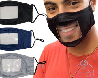 Adult Unisex Transparent Face Mask | Mask for teachers | Hard of hearing or def | Read Lips | See Through Mask With Nose Wire | Fast Ship