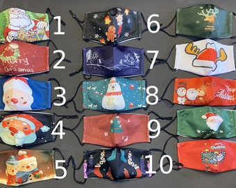 4 Christmas Holiday Face Masks Washable Face Mask, Christmas Mask, Christmas Face Mask Adult, Face Mask with Filter Pocket