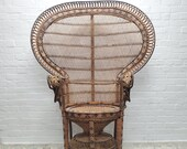 Vintage Boho Peacock Wicker Chair - Iconic Emanuelle Wicker Chair - Retro Rattan Lounge Wingback Armchair