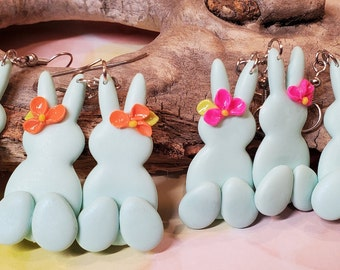 Easter Bunny Clay Earrings Mint green with flowers