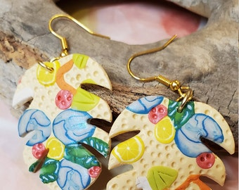 Monstera leaf polymer clay summer tropical earrings