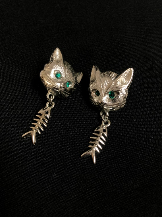 Vintage L Razza Rhinestone Cat and Fish Skeleton D