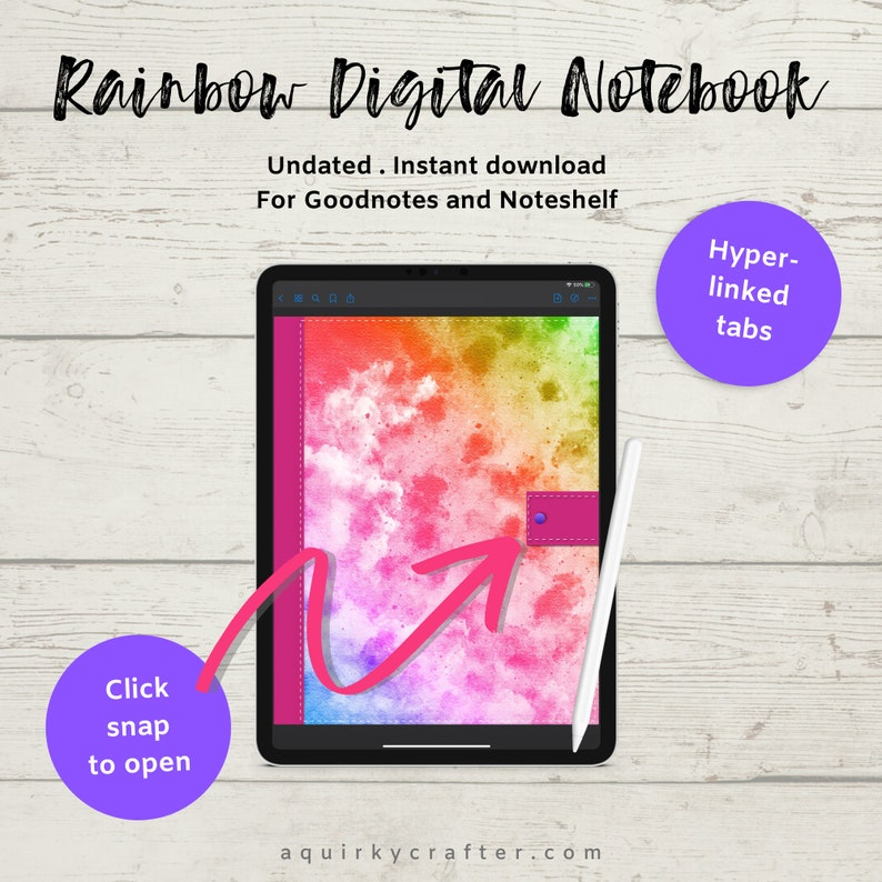 Rainbow Digital Notebook with bonus digital stickers. image 0