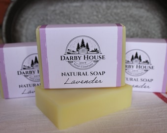 Lavender Bar Soap - All Natural - Palm Oil Free - Lavender & Lemongrass Essential Oil