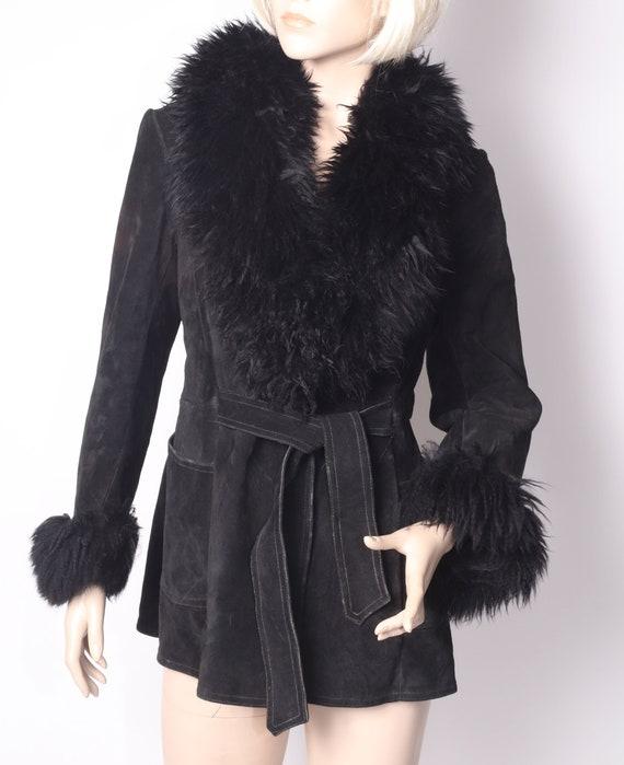 Fluffy trim sheepskin Penny Lane bohemian jacket