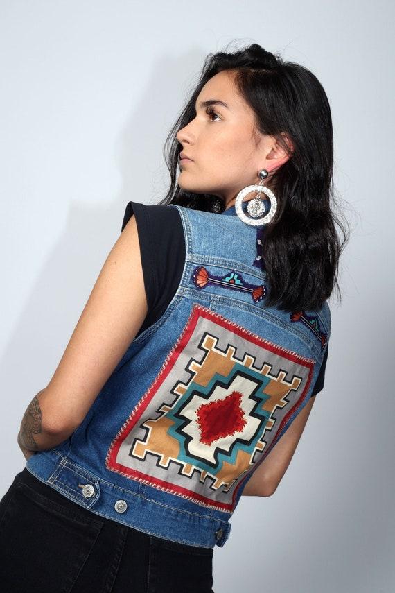Aztec denim vest