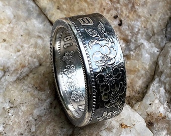 Japanese 1000 Yen Coin Ring. Handcrafted .925% silver. Size 8-15, Unique Silver Ring.