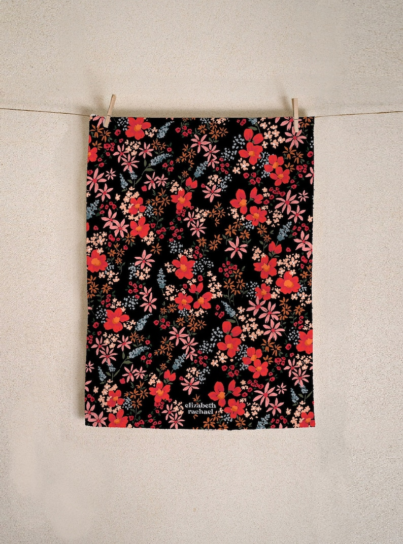 Dark Ditsy Floral Luxury Tea Towel. Gifts For Home. Fancy image 0