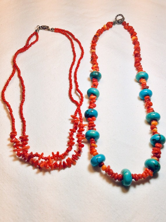 Vintage 70s Turquoise Coral Necklaces