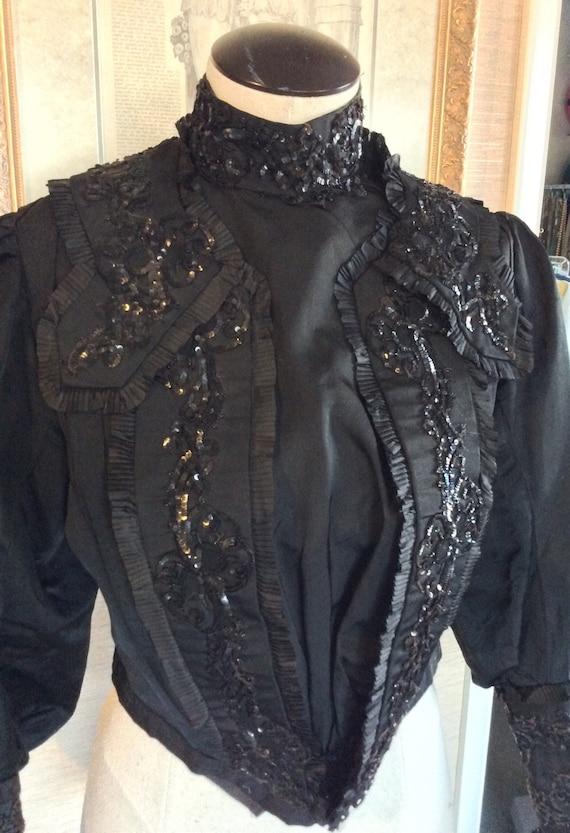 Antique Victorian 1880s Silk Blouse Bead Sequin Tr
