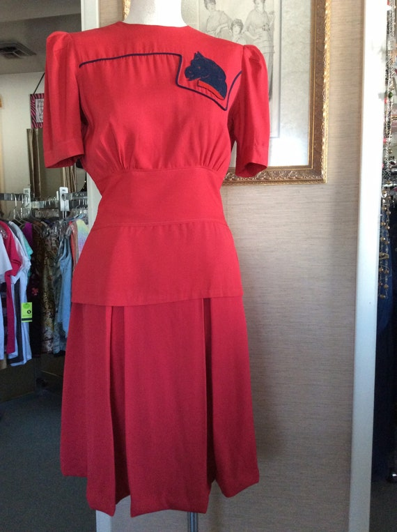 Vintage 1940s 2 pc red dress