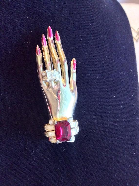 Coro 40s Jeweled Hand Brooch