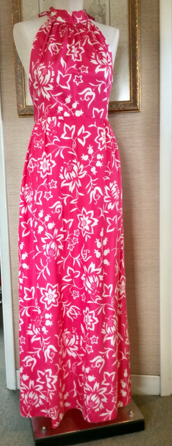 Vintage 60s Halter Maxi Dress