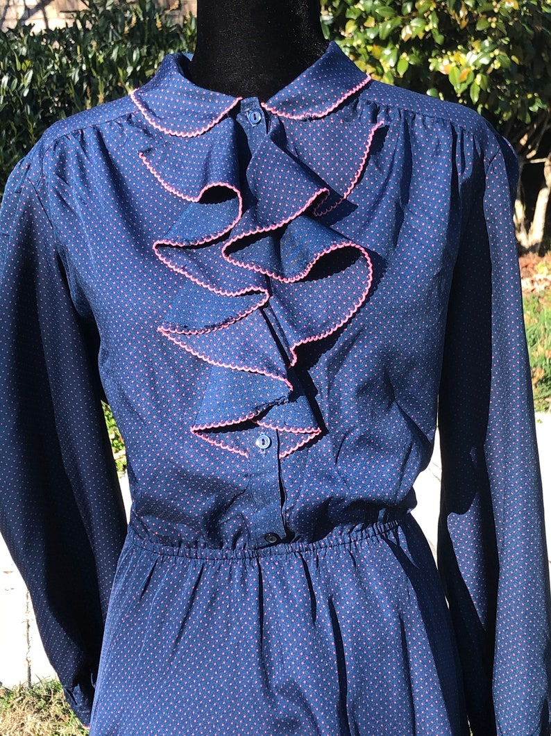 Vintage 60s 70s Neiman Marcus Grace Tone Fashions Ruffle Collar Navy Blue with Pink Polka dots Womens Long sleeve Dress Polyester MOD